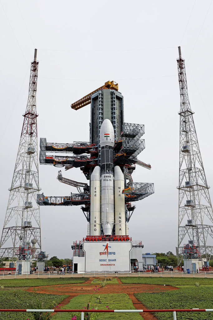 This July 2019 photo released by Isro shows its GSLV MkIII-M1 being prepared for the July 15 launch of Chandrayaan-2 at Sriharikota.