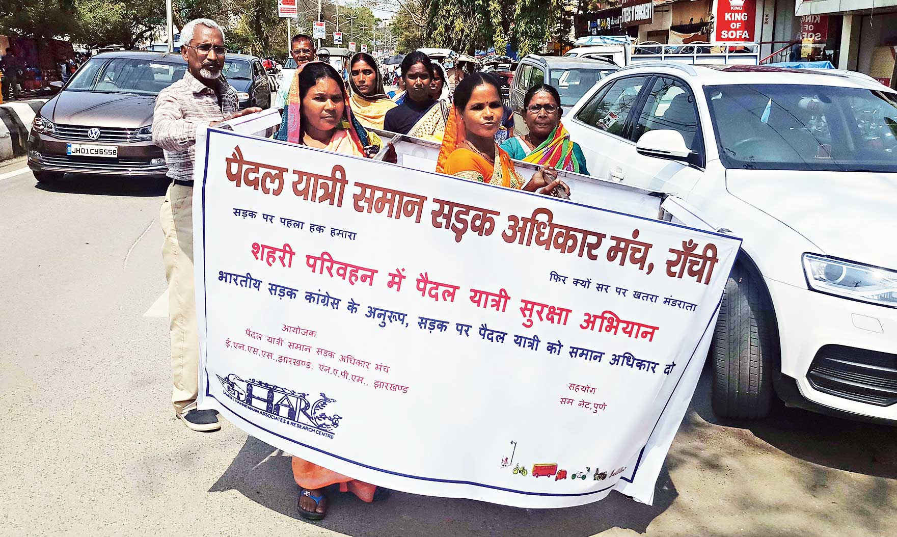 Women take part in the rally to fight for the rights of pedestrians in Ranchi on Saturday.