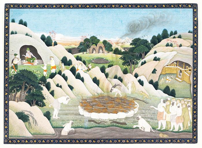 Bharata places Rama's padukas on the throne
