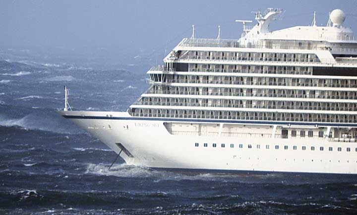 Norwegian cruise ship Viking Sky weighs anchor in heavy seas off the coast of Norway on Saturday.