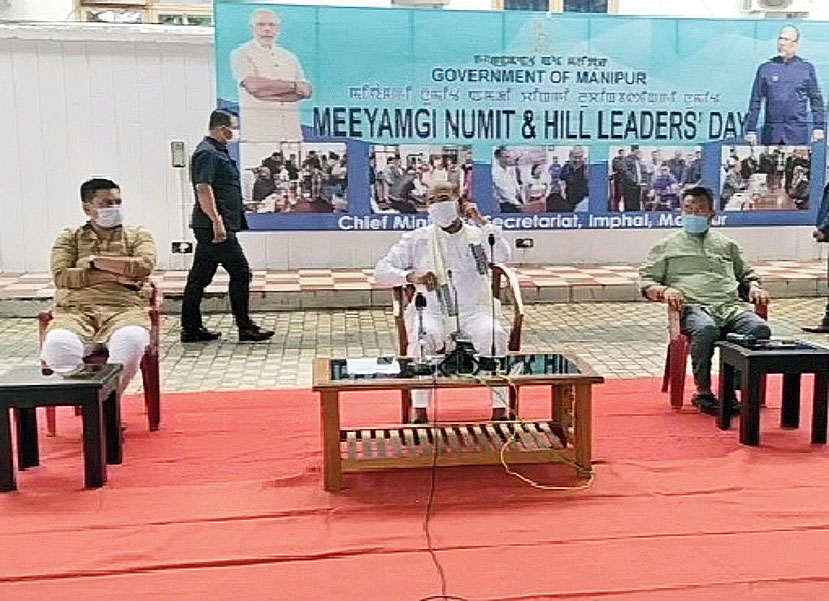 Manipur chief minister N. Biren Singh at the meeting with hill leaders in Imphal on Wednesday.