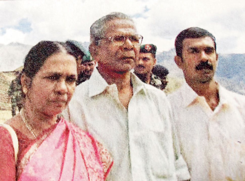 Capt. Jerry Premraj's parents and brother at the 10th anniversary commemoration in Kargil