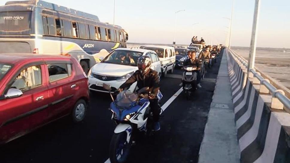 Bumper-to-bumper traffic on Bogibeel bridge on Tuesday.
