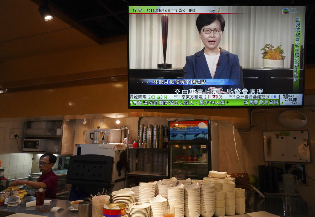 Hong Kong chief executive Carrie Lam, seen in a telecast on Wednesday September 4 when she announced that the government will formally withdraw an extradition bill that has sparked months of demonstrations in the city.