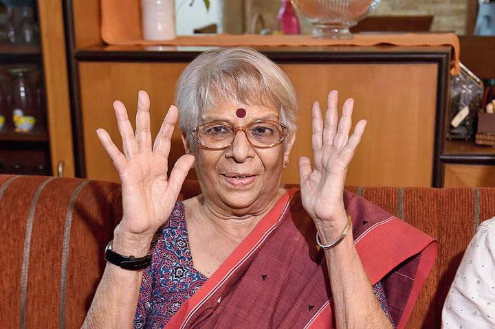Nirmala Banerjee, mother of Abhijit Vinayak Banerjee, at her apartment on Monday