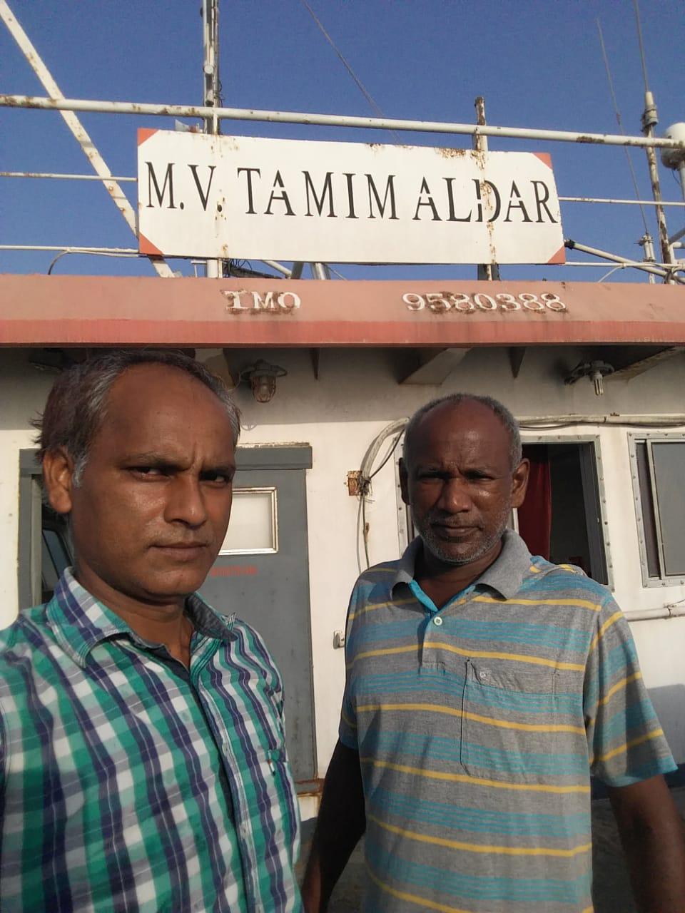Vikash Mishra and Arasu Lobo on the MV Tamim Aldar