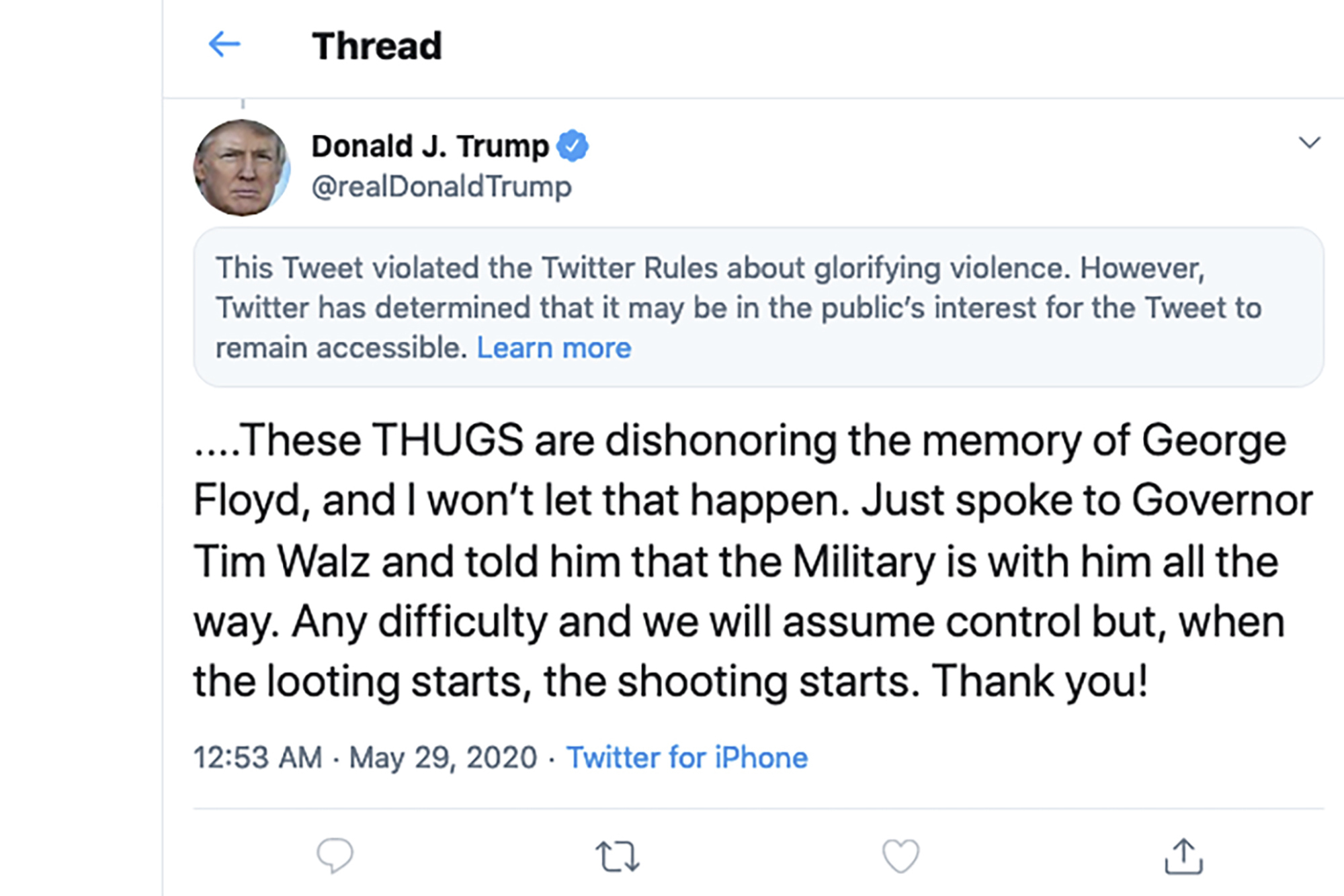 A tweet by US President Donald Trump with a Twitter brief notice above it