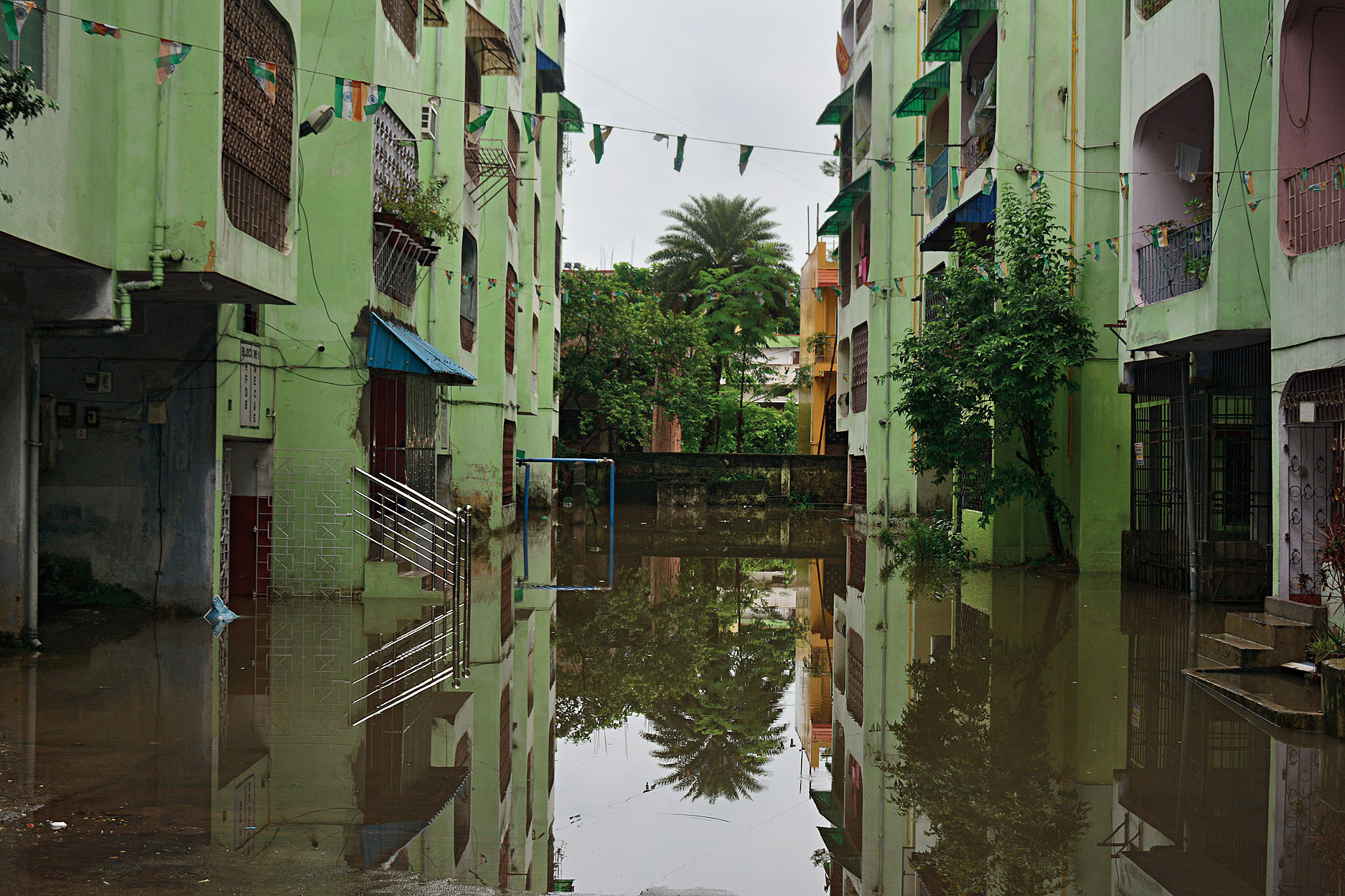 A waterlogged apartment complex in Sonari, Jamshedpur, on Thursday.