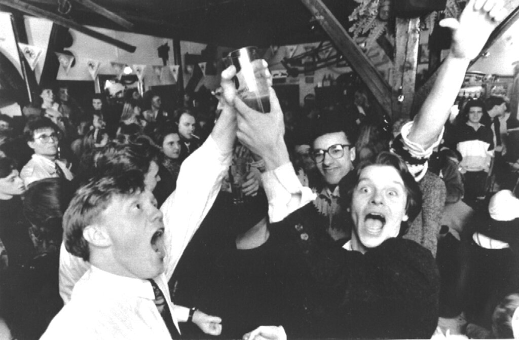 In this March 2, 1989 file photo, Icelanders celebrate in a Reykjavik bar, as the first legal beer since 1915 went on sale in the Icelandic capital, which had been banned following a referendum.