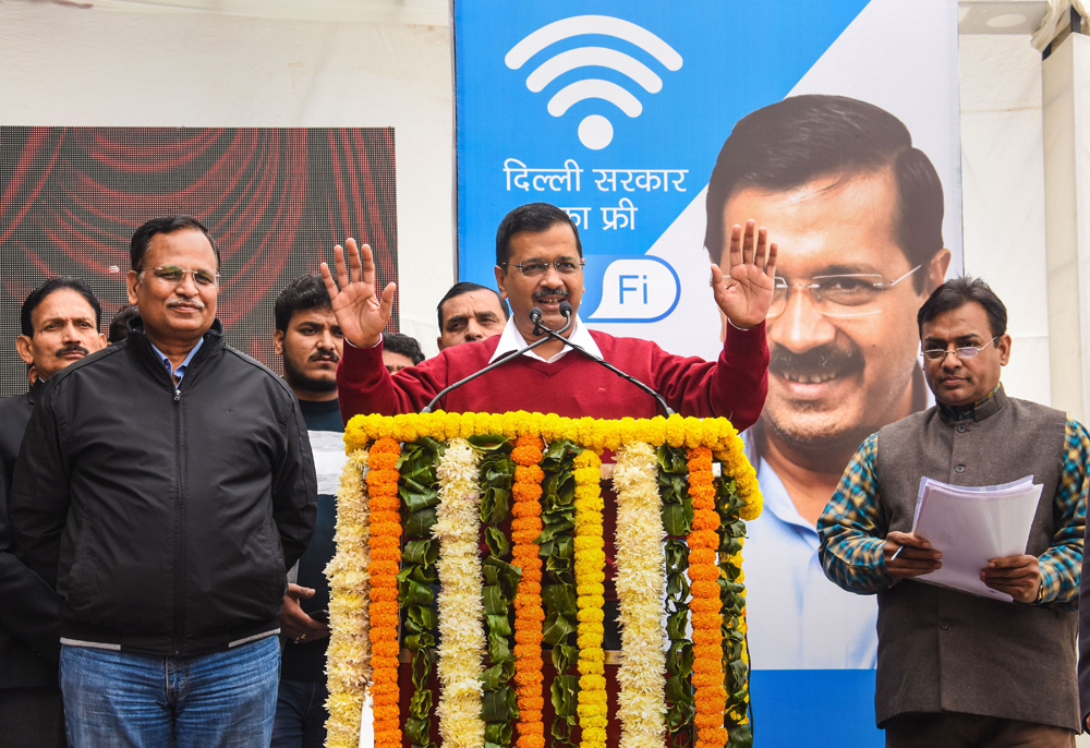 Delhi chief minister Arvind Kejriwal inaugurates the free Wi-Fi scheme in New Delhi on December 19