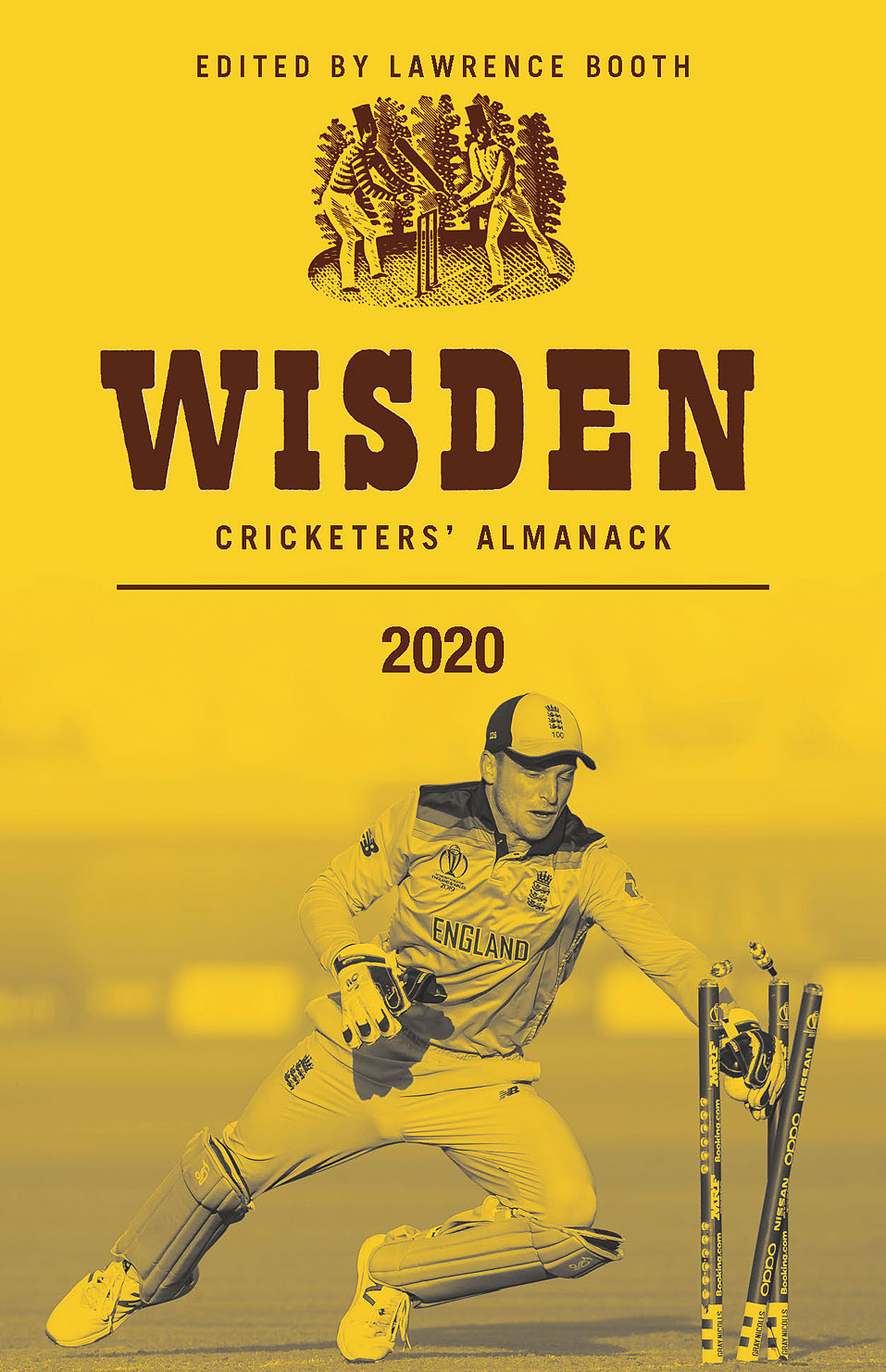 Wisden's cover depicts the moment of England's World Cup victory — Jos Buttler completing the run out