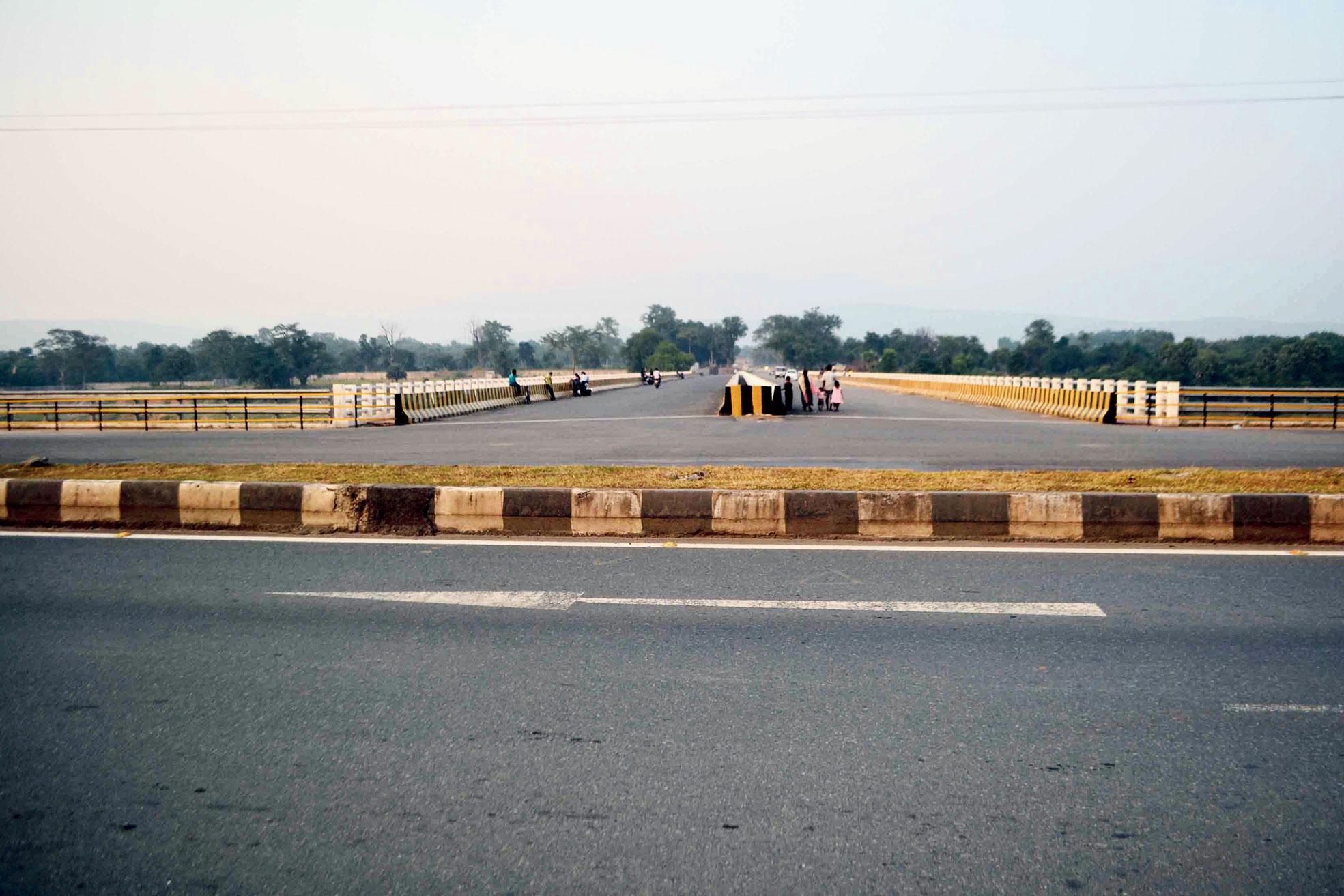 The under-construction Domuhani bridge along Marine Drive at Sonari on Thursday.