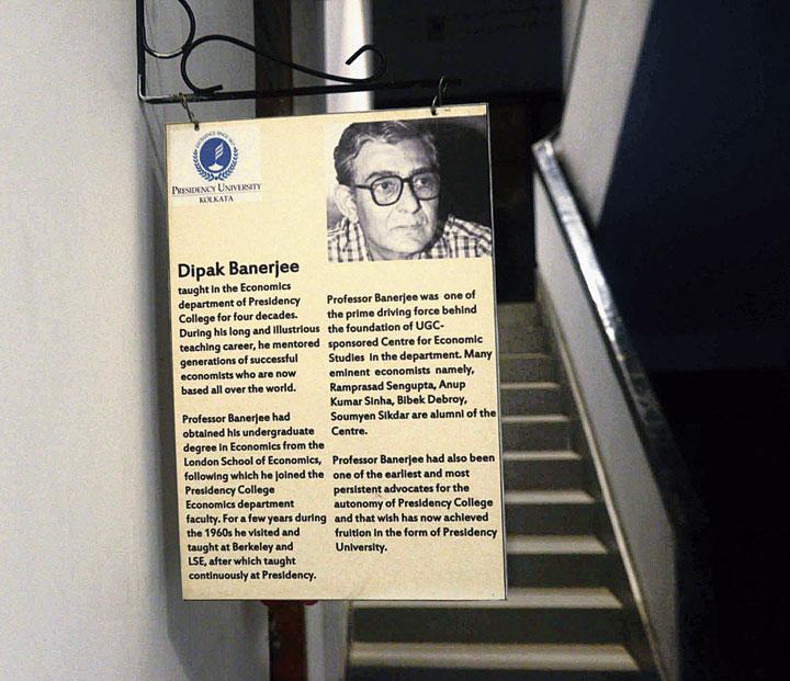 A board in memory of Abhijit's father, economist Dipak Banerjee, at Presidency University
