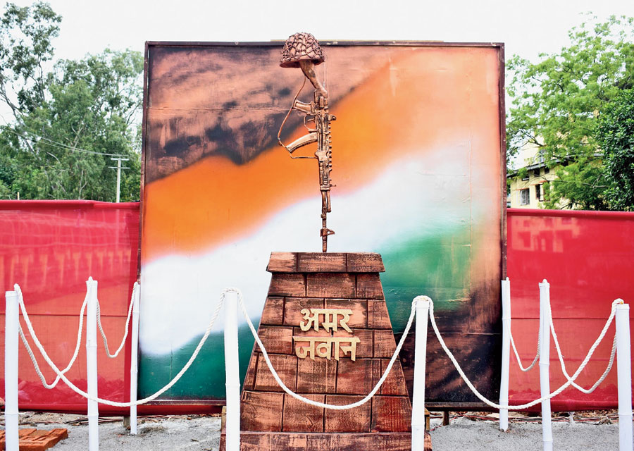 The under-constructed site of the war memorial at the old Birsa Munda jail complex in Ranchi.