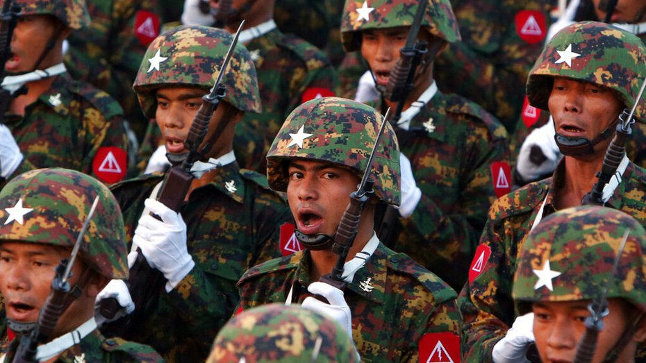 Myanmar military officers march during a parade to commemorate the 74th Armed Forces Day in Naypyitaw, Myanmar on Wednesday, March 27, 2019.