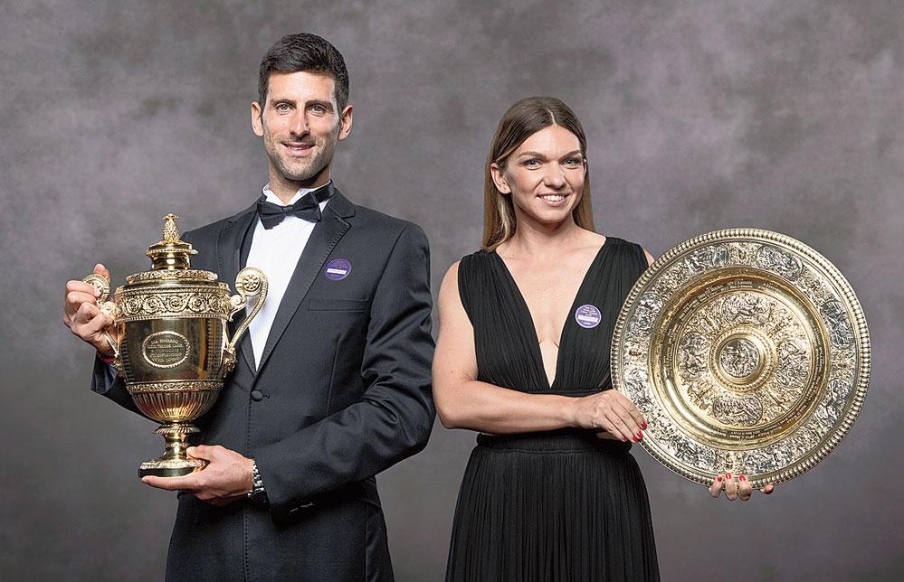 Winners of 2019 Wimbledon, Novak Djokovic and Simona Halep, with the trophies.