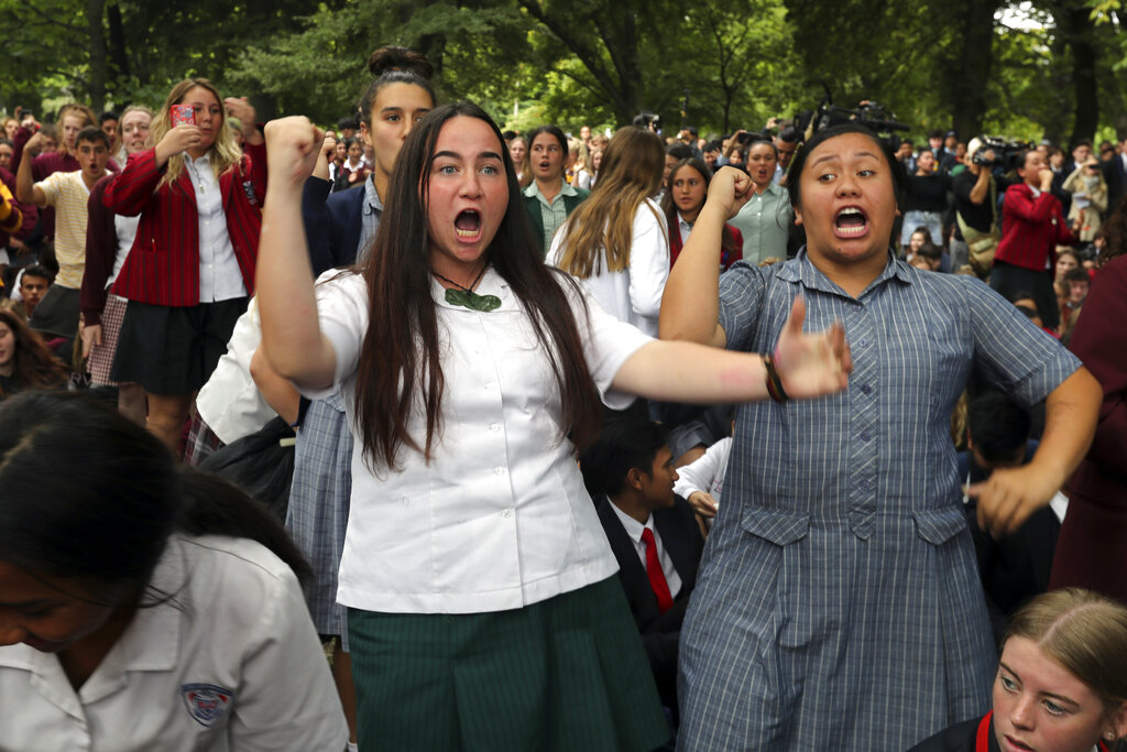 Students perform the Haka outside the Al Noor mosque in Christchurch.
