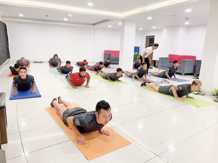 JFC players attend a yoga session at JRD Tata Sports Complex in Bistupur earlier this week