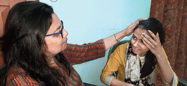 Aishe Ghosh (right) with her mother in Durgapur on Wednesday.