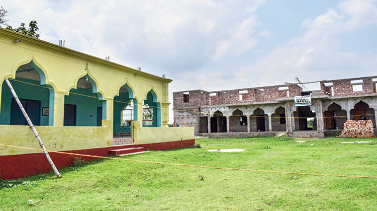 The mosque and madarsa hostel that have been turned into a quarantine centre.
