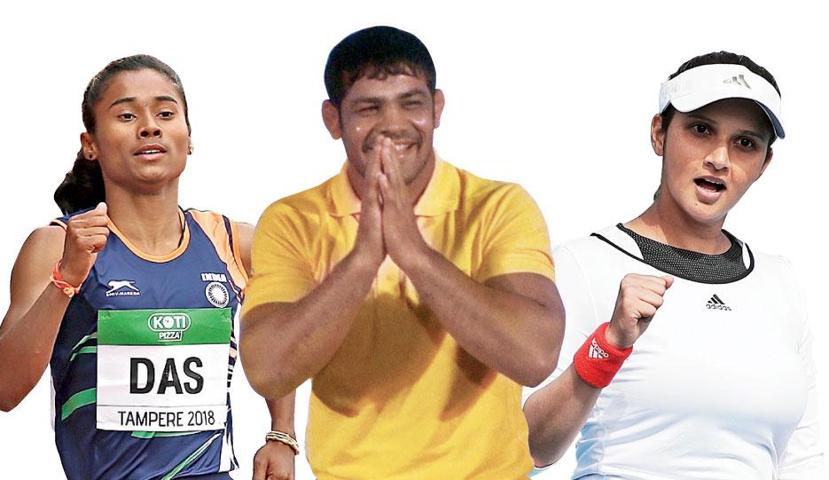 Hima Das, Sushil Kumar, Sania Mirza. (Above) People wearing face masks pose