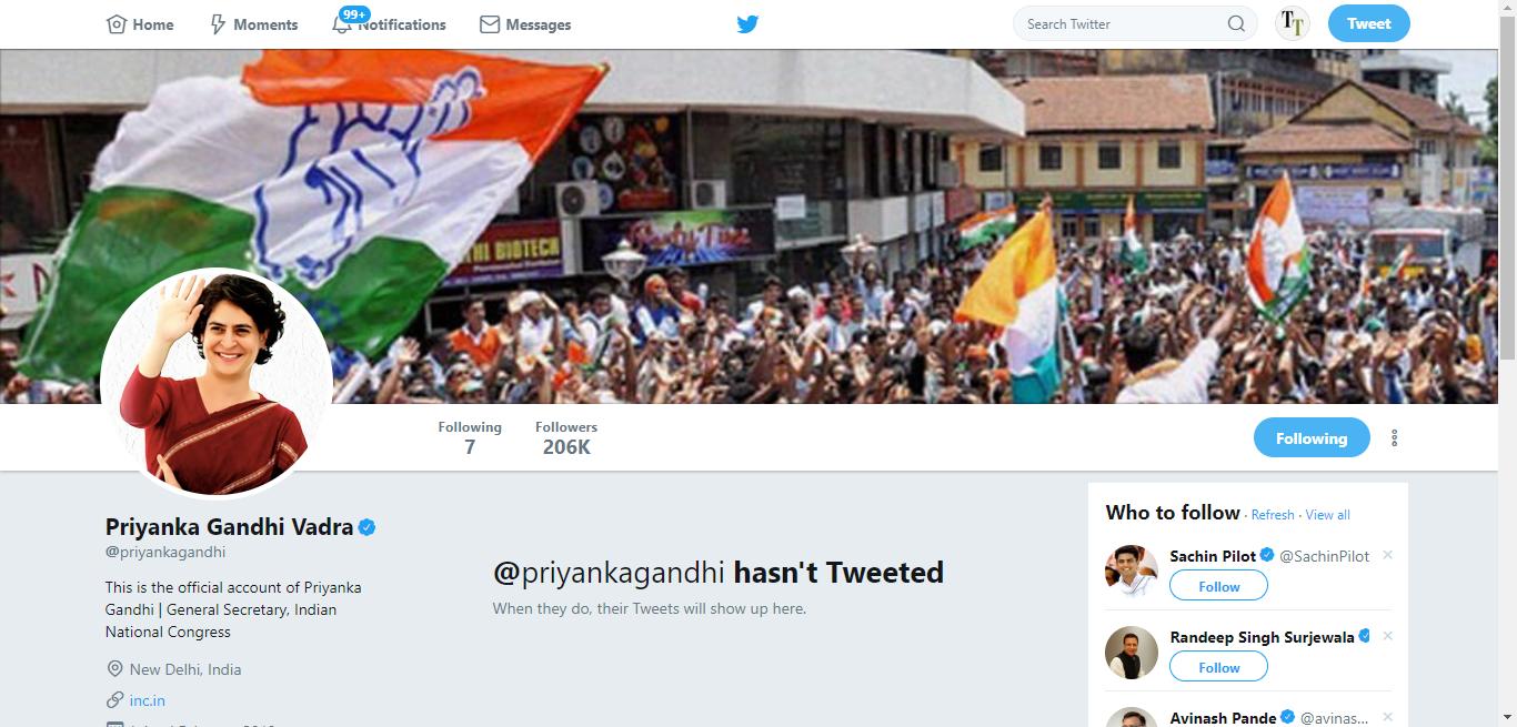 Priyanka Gandhi's official Twitter account on February 15, 2019.