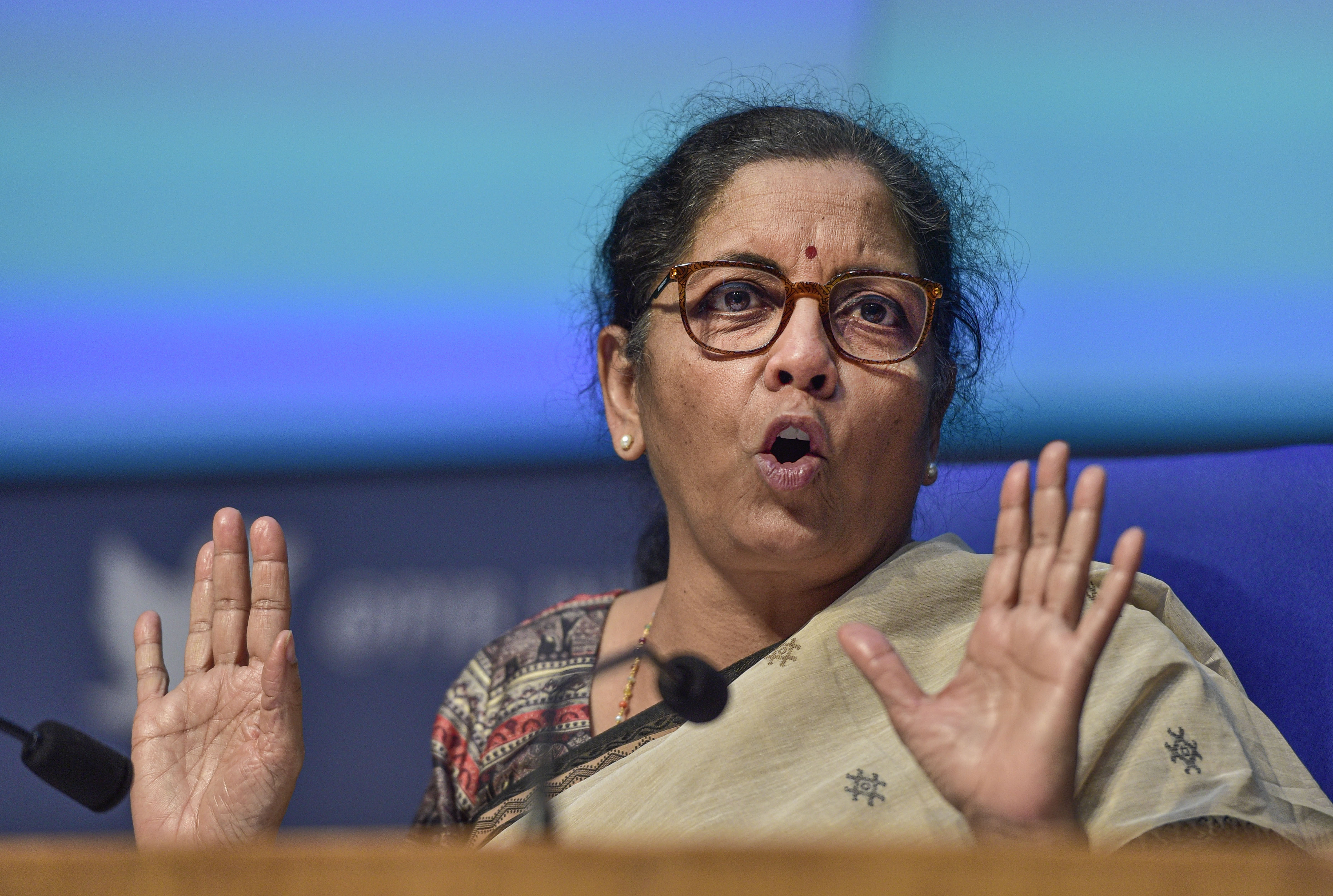 Union Finance Minister Nirmala Sitharaman addresses the fourth part of her press conference on the economic stimulus package announced by Prime Minister Narendra Modi, at the National Media Centre, in New Delhi, Saturday, May 16, 2020.