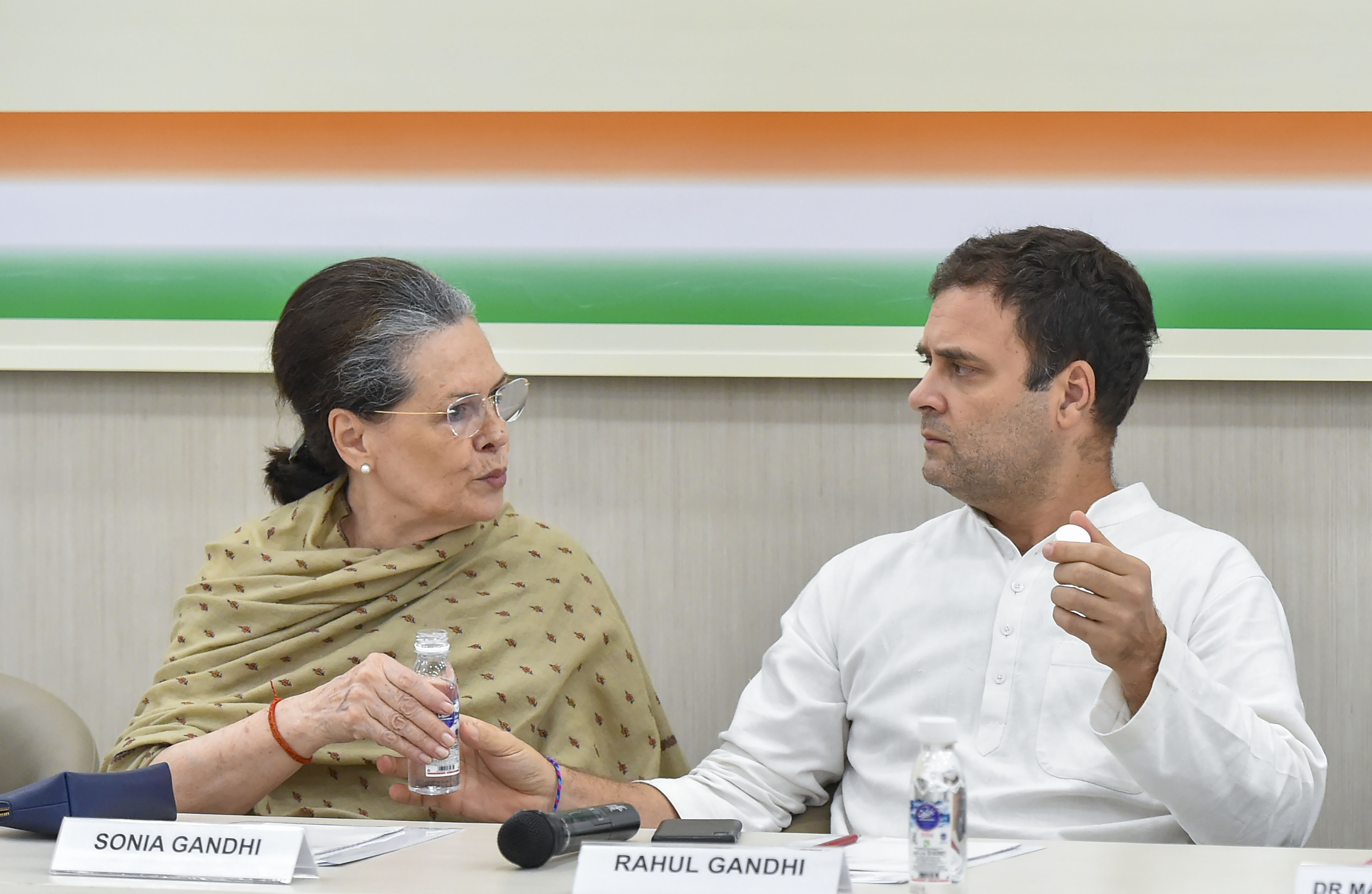 Sonia and Rahul Gandhi during a Congress Working Committee meeting in New Delhi on August 6.