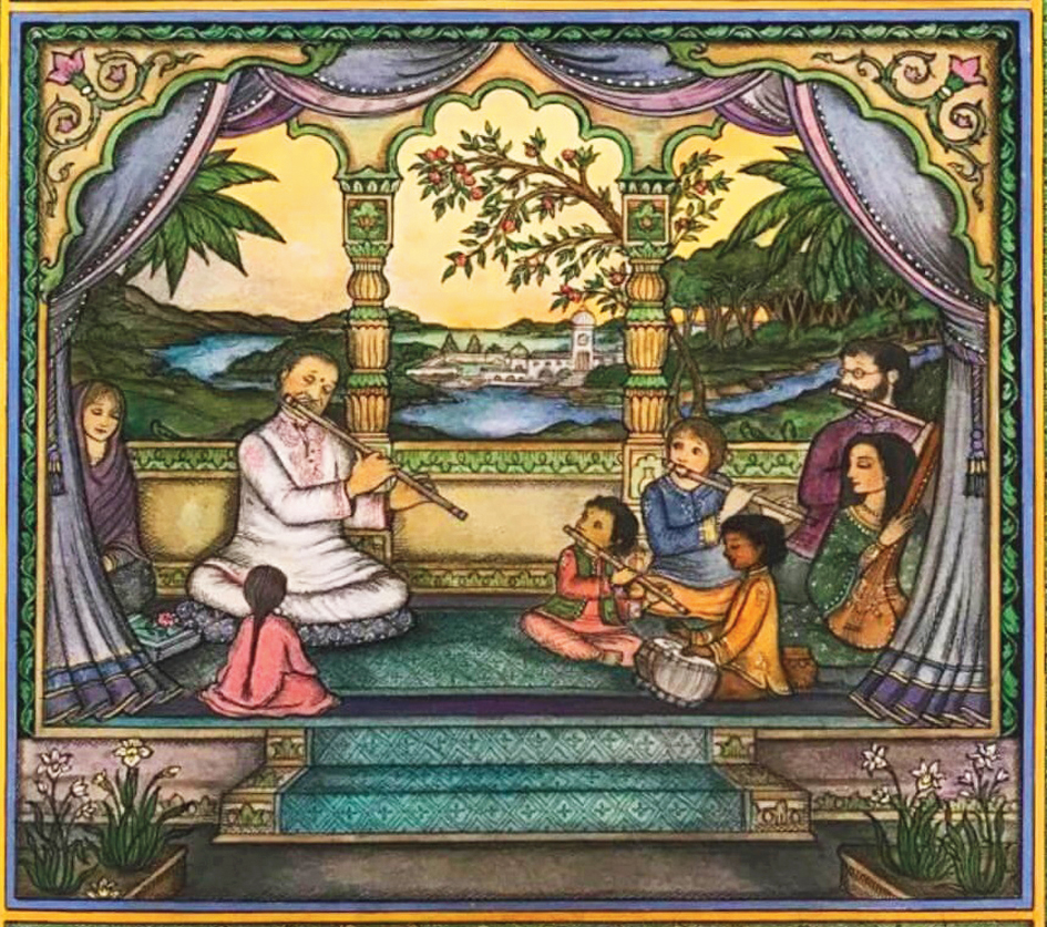 A painting depiciting Hariprasad Chaurasia with his students