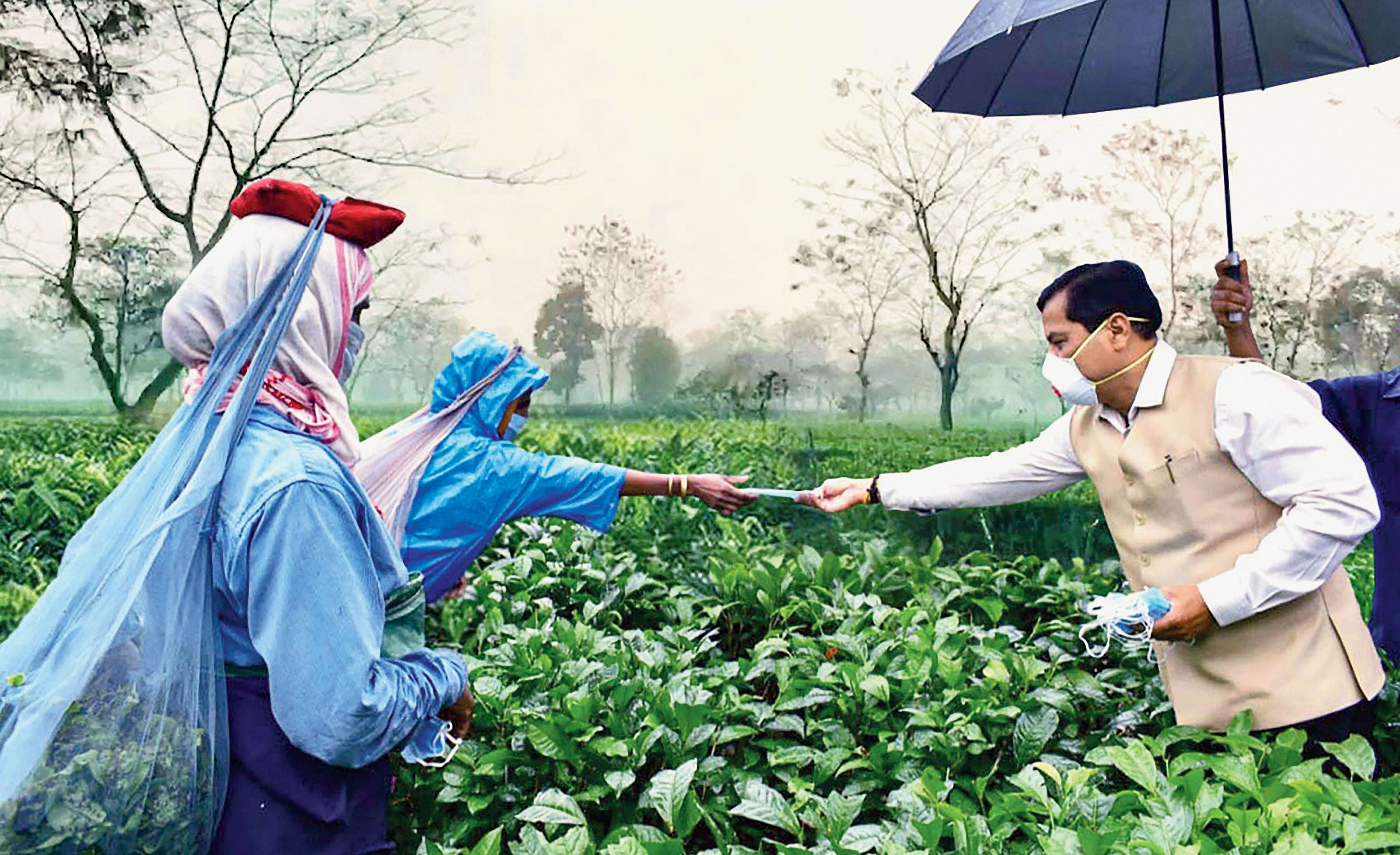 Assam chief minister Sarbananda Sonowal distributes face masks among workers at Bokpara tea estate in Dibrugarh district on Friday.