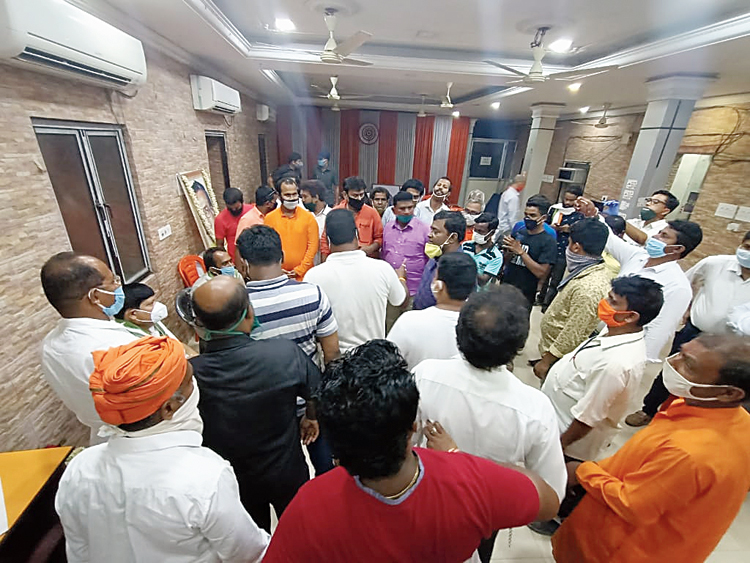 The crowd inside the BJP office on Tuesday