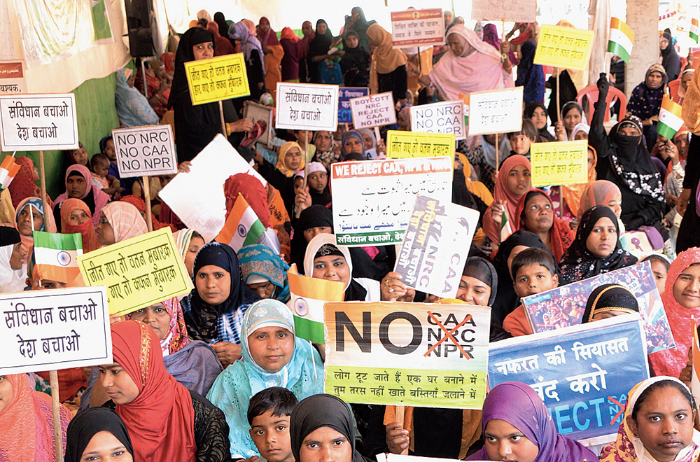 Women at the sit-in in Kadru, Ranchi, against the new citizenship matrix on Wednesday