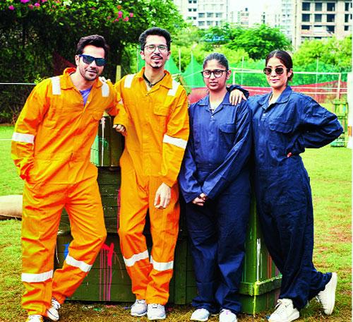 Varun Dhawan and Janhvi Kapoor at a paintball session with Varun's fan Amitesh and his sister Asawari