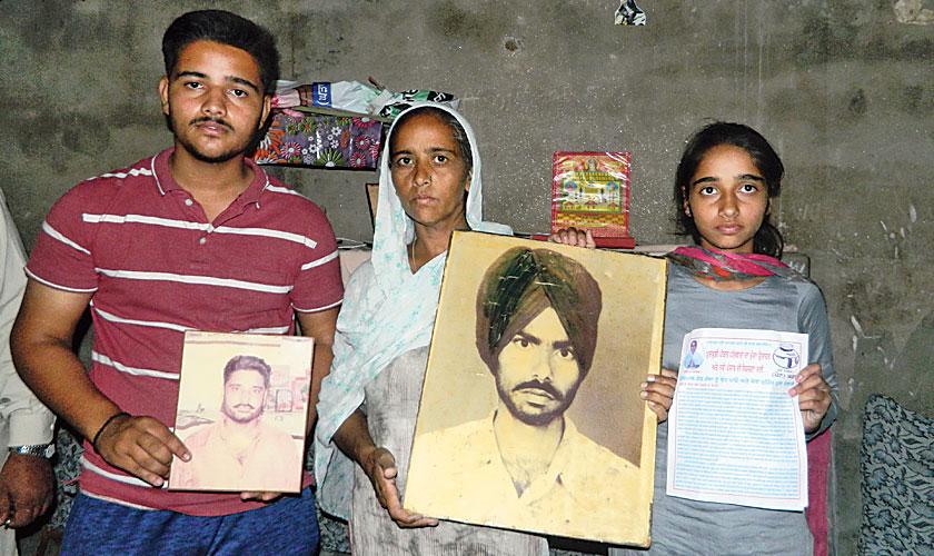 Veerpal Kaur with her children Abhishek and Diljot.