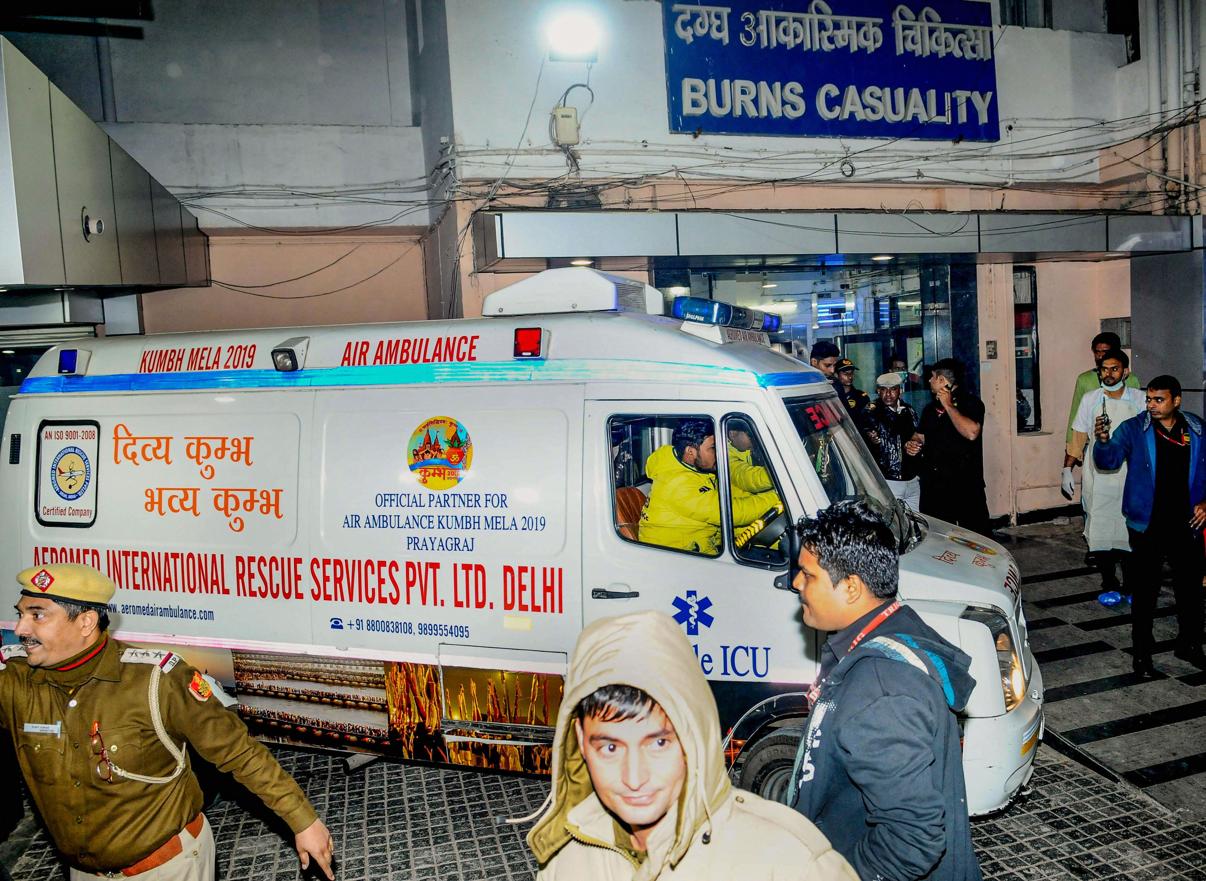 An ambulance carrying the Unnao rape survivor, who was set afire earlier today, arrives at Safdarjung Hospital after the state government arranged for her to be air lifted from Lucknow, in Delhi, Thursday, December 5, 2019.