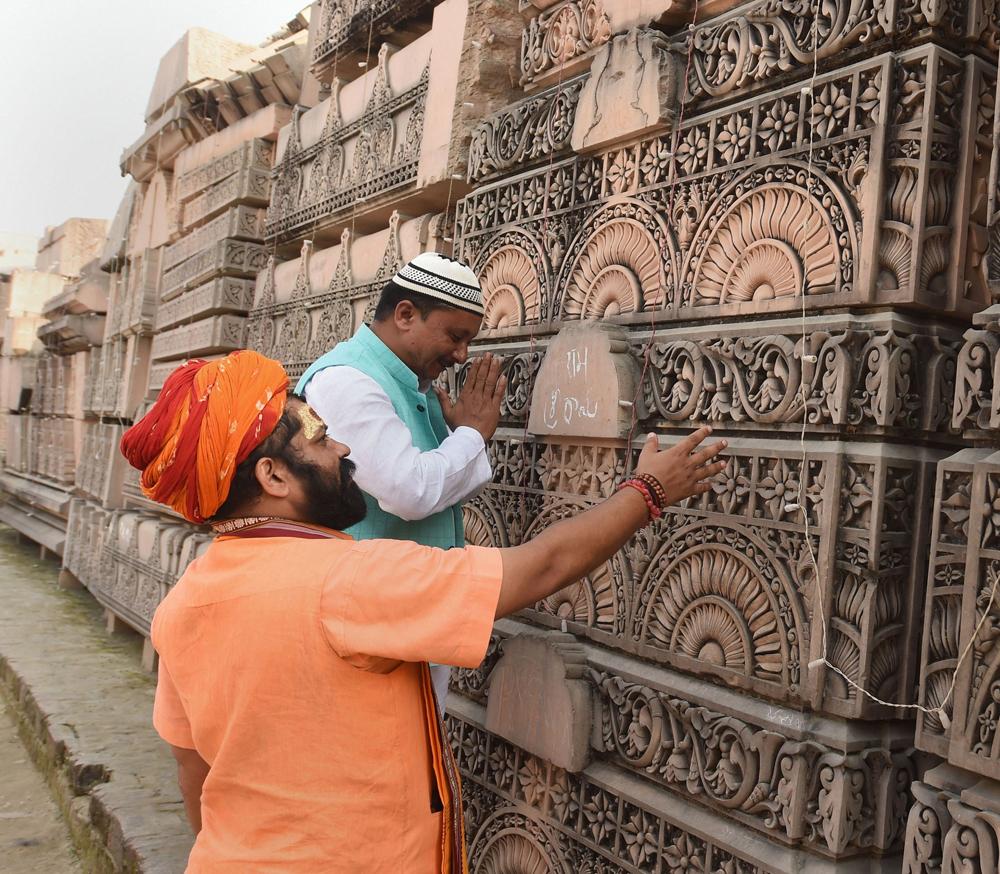 Senior priest Mahant Raju Das of Hanuman Garhi Mandir and a local Muslim leader Babloo Khan at Ram Janmabhoomi Nyas in Ayodhya, Sunday, November 10, 2019.