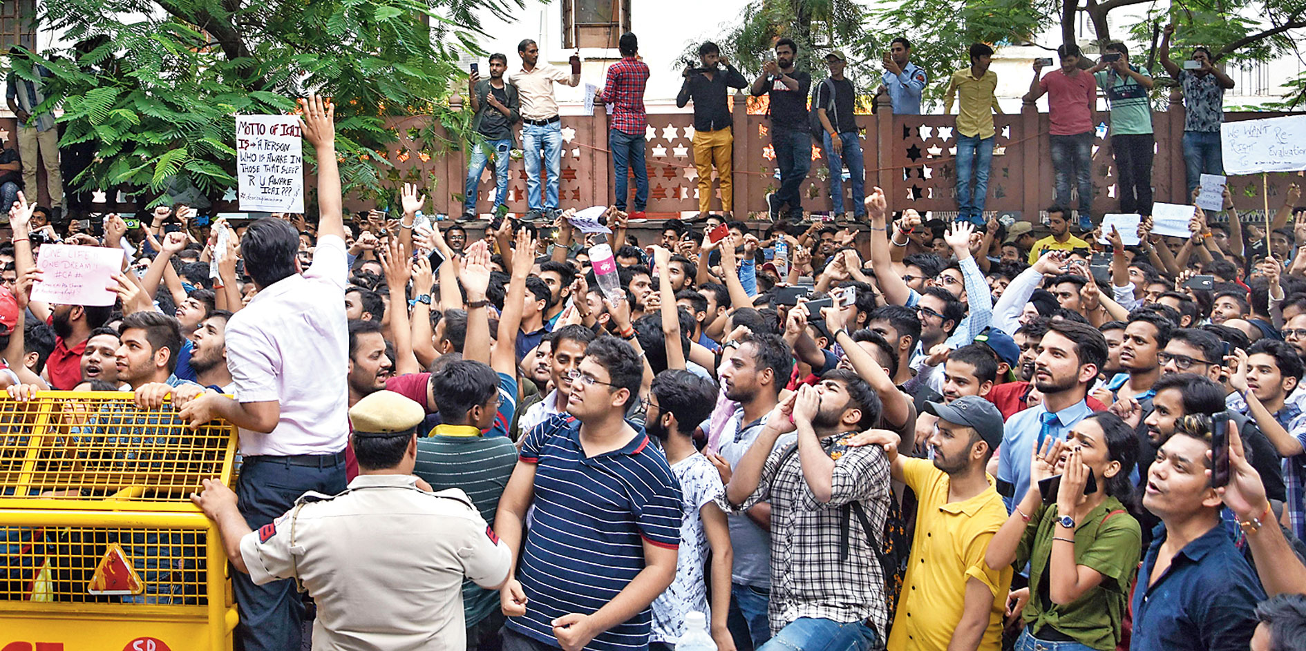 A protest outside the New Delhi office of the Institute of Chartered Accountants of India on Tuesday over allegations that students' answer sheets were not correctly evaluated.