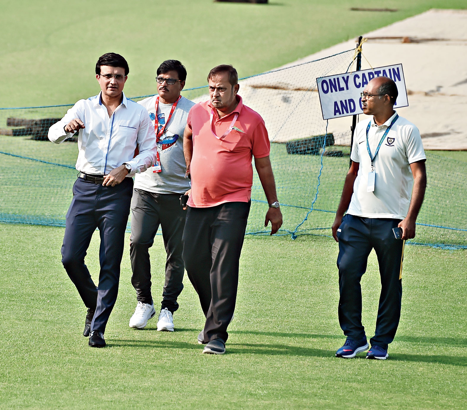 Ahead of the landmark tie, BCCI boss Sourav Ganguly on his mark, at Eden Gardens on Wednesday.