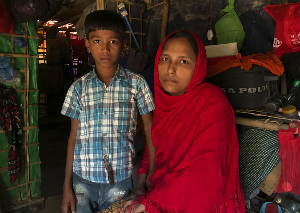 Sitara and her son Mohammed Abbas, who are in the list for repatriation, wait in their shelter at the Jamtoli refugee camp near Cox's Bazar on Thursday.