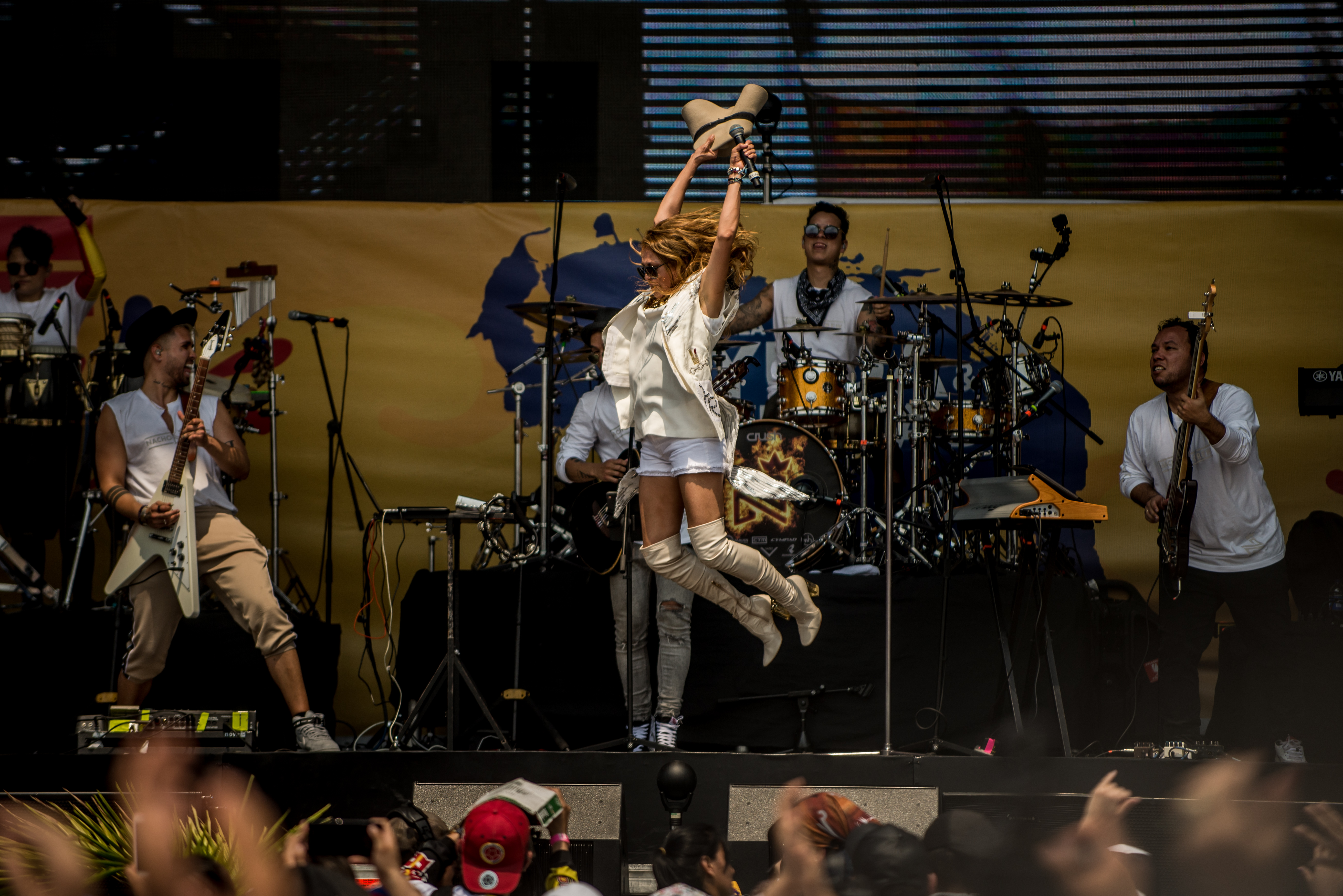 Paulina Rubio performs at the benefit concert in Cúcuta on Friday.