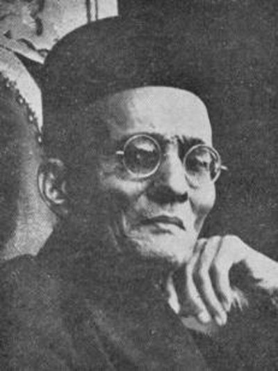 Amit Shah dropped a hint regarding the Indian perspective by referring to V.D. Savarkar (pictured), the champion of the Hindu rashtra, who, he said, first saw in the 1857 revolt the first war of independence.