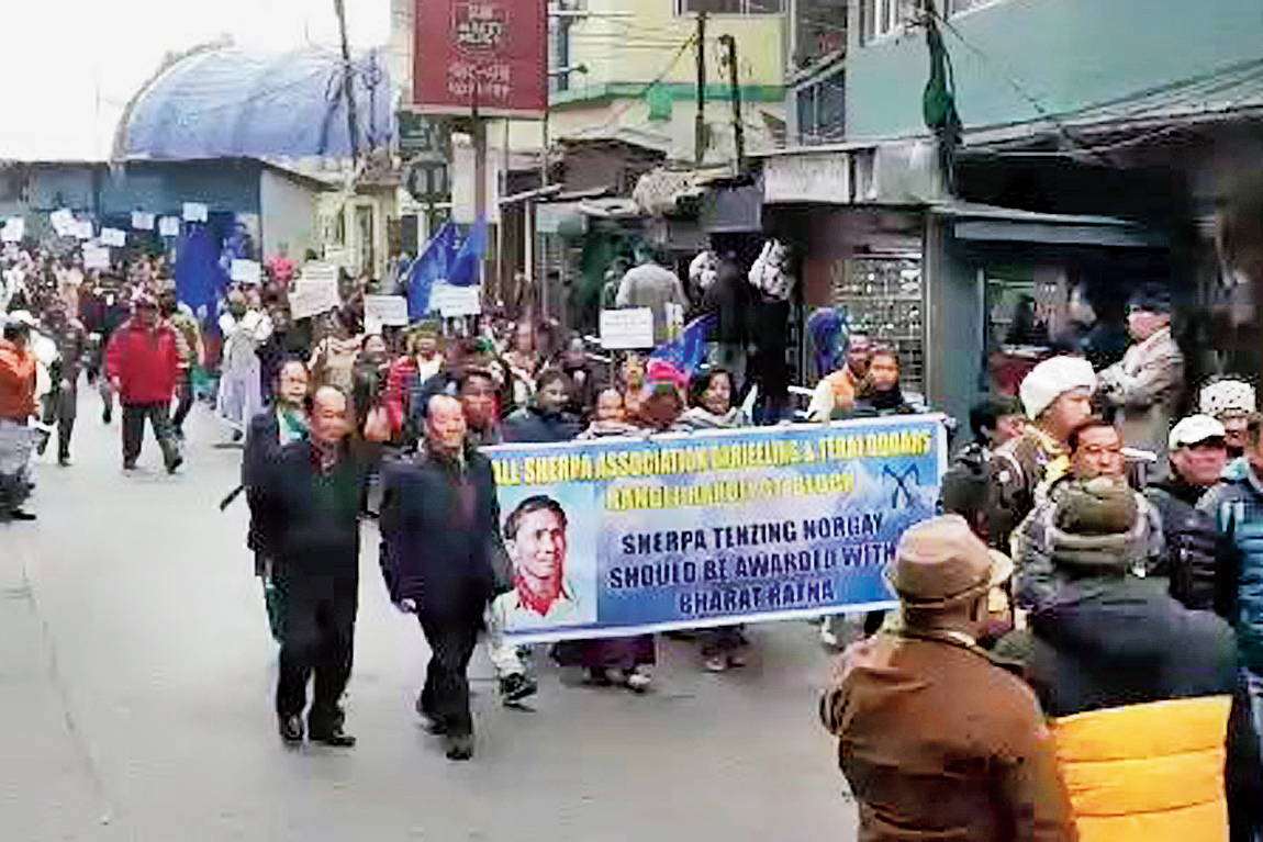 The procession by the United Gorkha Community Forum in Darjeeling on Sunday