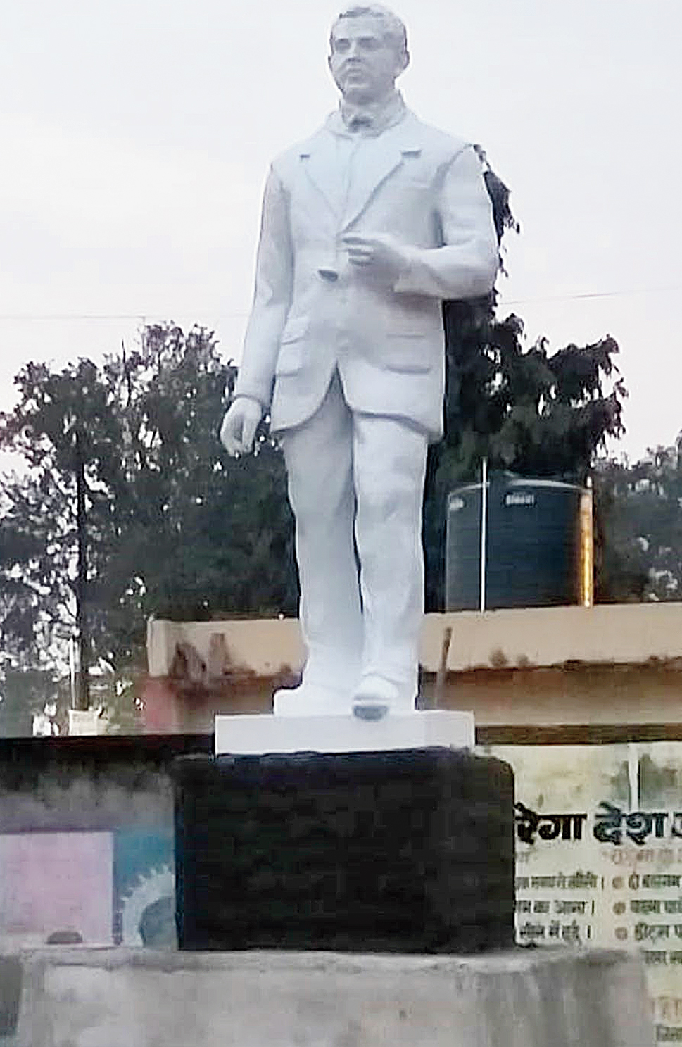 Standing tall: The statue of Dr Subhash Mukhopadhyay that will be formally unveiled at Hazaribagh Sadar Hospital on Sunday.