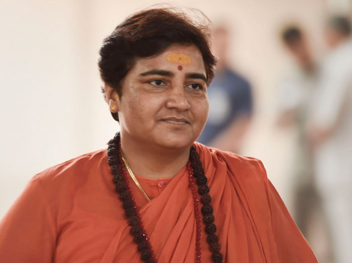 In this file photo, BJP MP Sadhvi Pragya Singh Thakur arrives for the BJP Parliamentary Party meeting at Parliament House, in New Delhi. Thakur referred to Mahatma Gandhi's assassin Nathuram Godse as a deshbhakt during debate in the Lok Sabha on Wednesday, Nov 27, 2019, triggering protest.