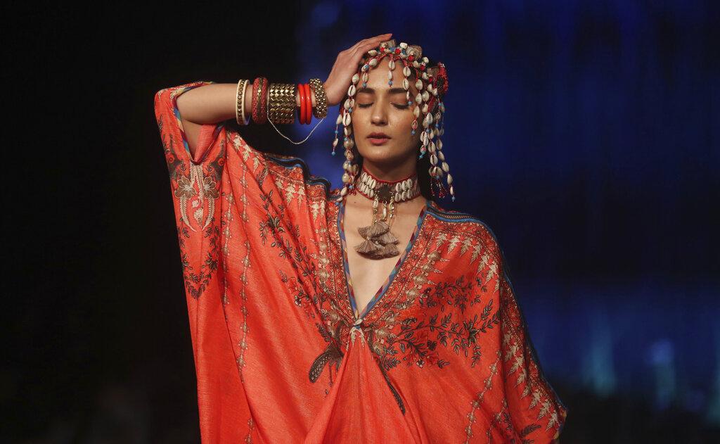 A model displays creations by Rajdeep Ranawat during Lakme Fashion Week in Mumbai