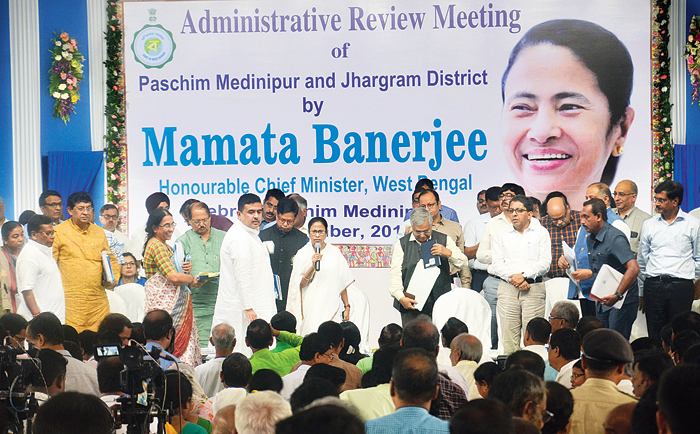Mamata Banerjee at the administrative review meeting in West Midnapore's Debra on Wednesday