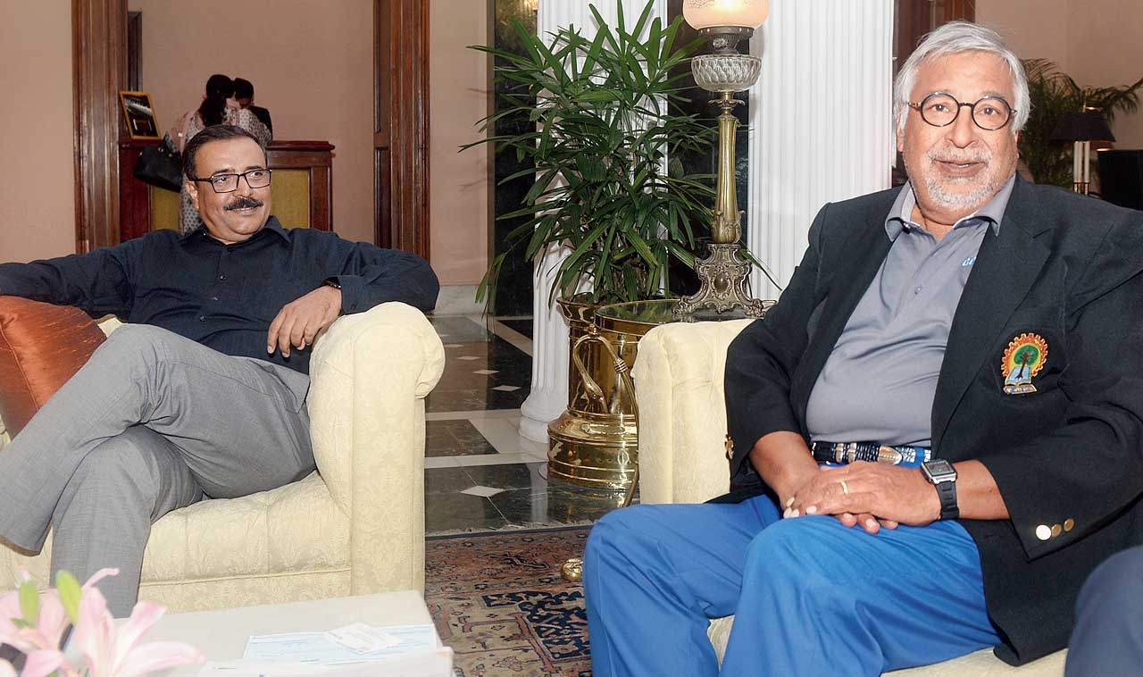 American businessman Vinod Gupta (right) with Subrata Chattopadhyay, dean, alumni affairs, IIT Kharagpur, at a city hotel on Sunday.