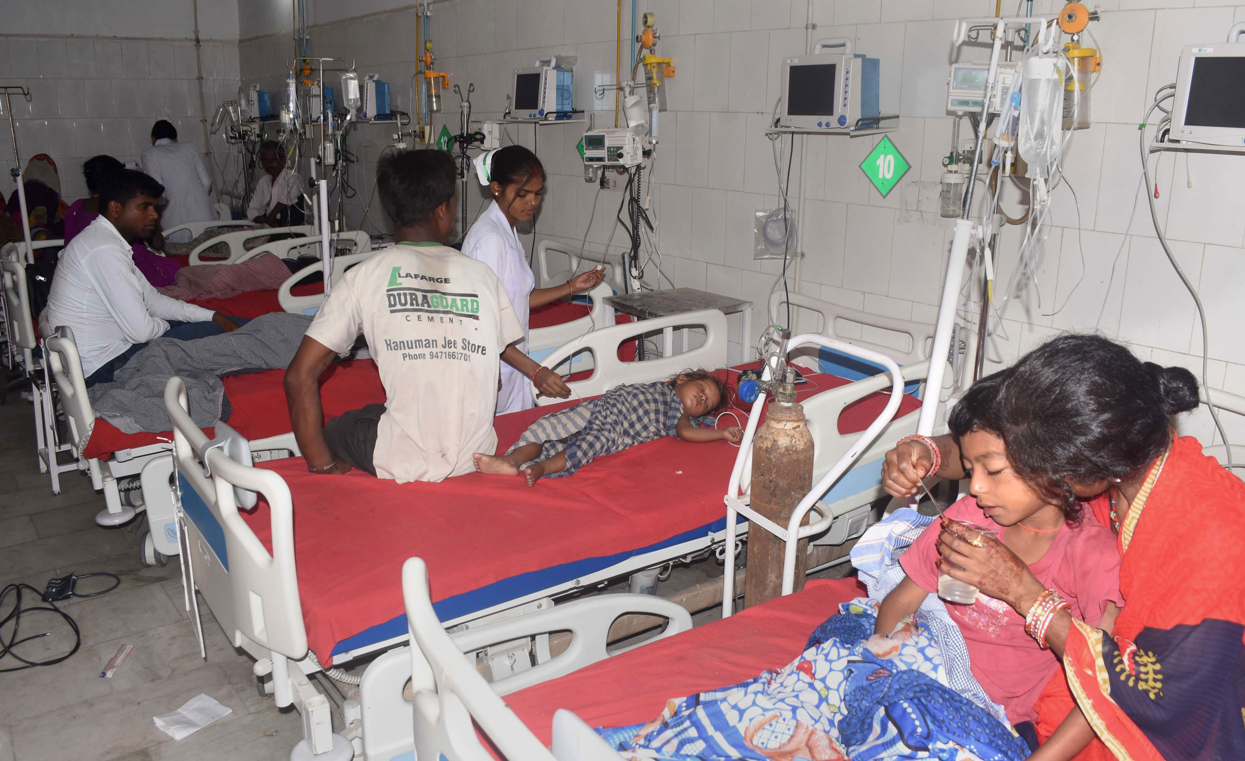 Children with Acute Encephalitis Syndrome being treated at a hospital in Muzaffarpur, on June 15, 2019.