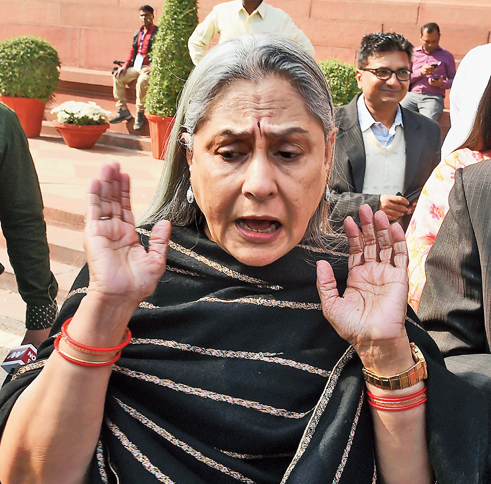 Jaya Bachchan speaks to the media outside Parliament on Monday.