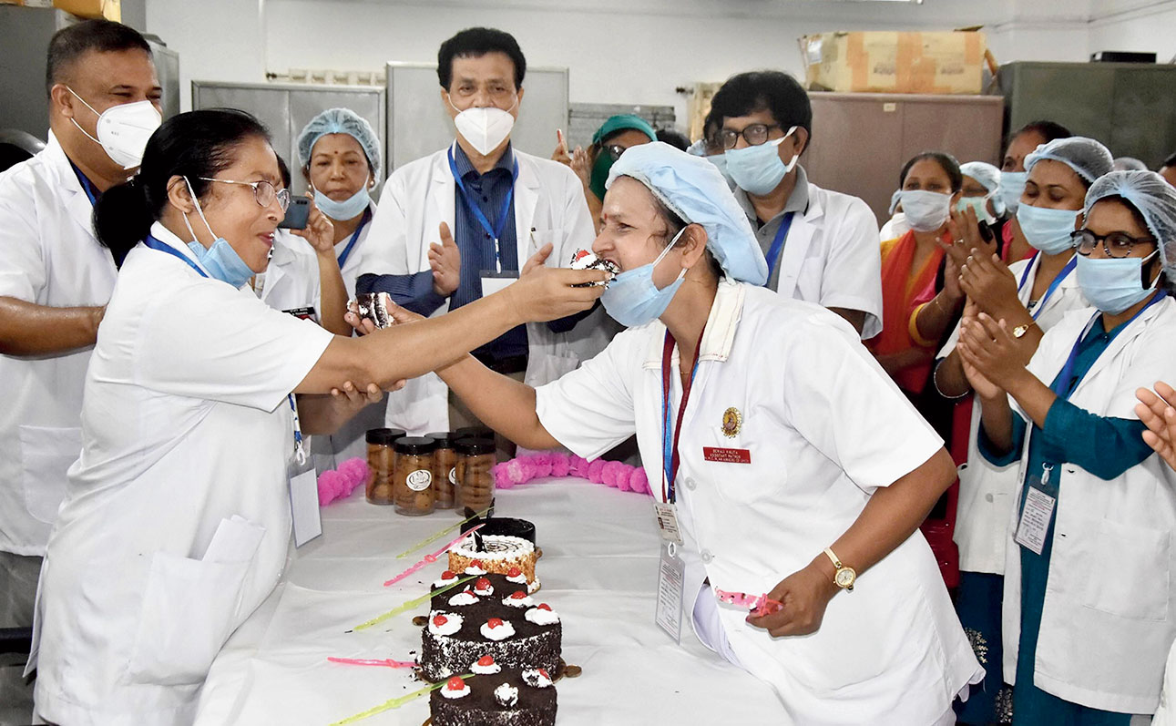 Nurses celebrate International Nurses Day in Guwahati on Tuesday.